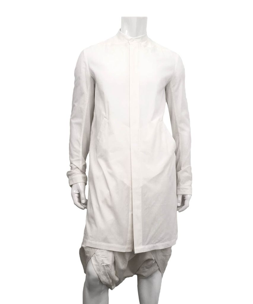 LINED LONG MANDARIN COLLAR SHIRT WHITE