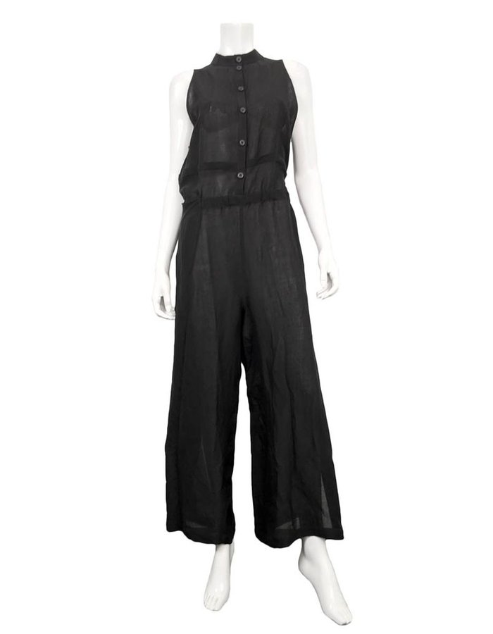 LOST AND FOUND LINEN VISCOSE JUMPSUIT-BLK