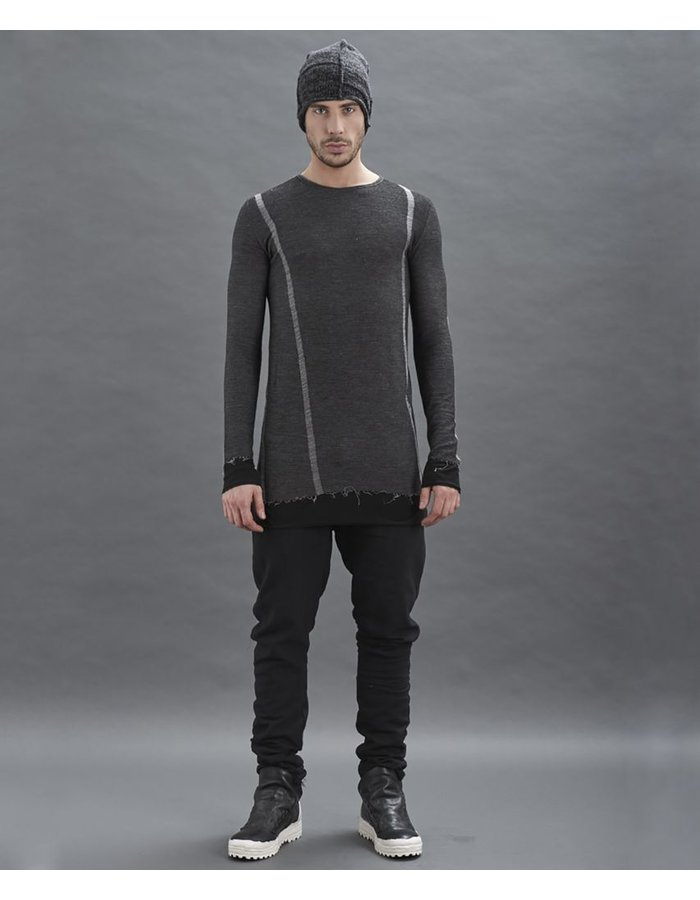 MASNADA INTARSIA SEAMED TEE SHIRT - ANTHRACITE