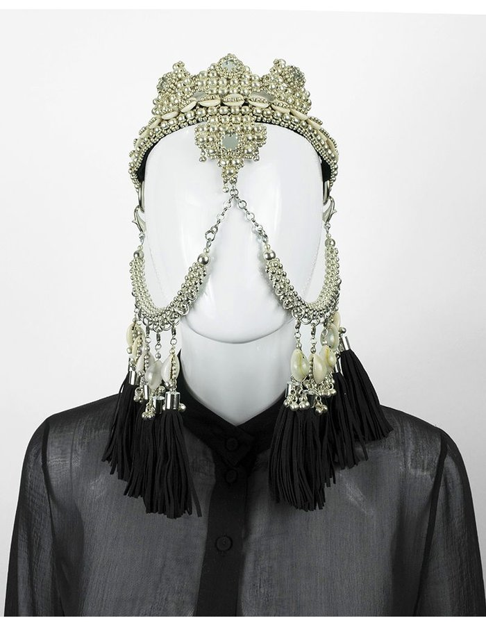 OBJECT AND DAWN ELOHIM CROWN + FACE CHAIN + BLK TASSELS