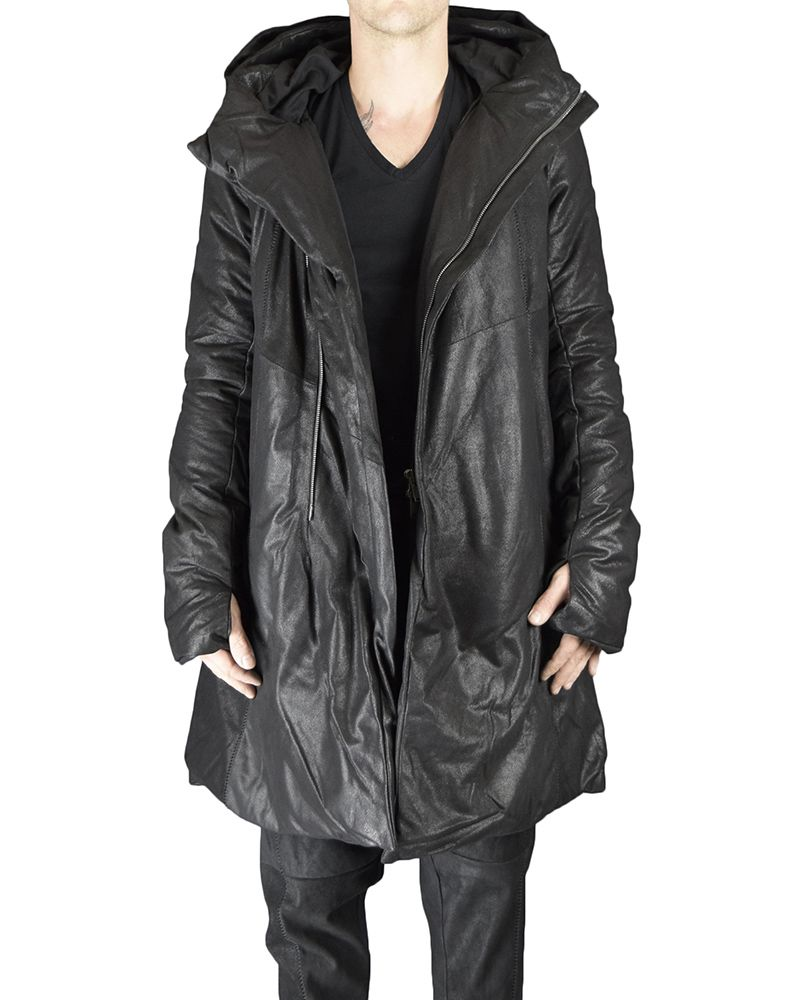 LONG LEATHER DOWN JACKET