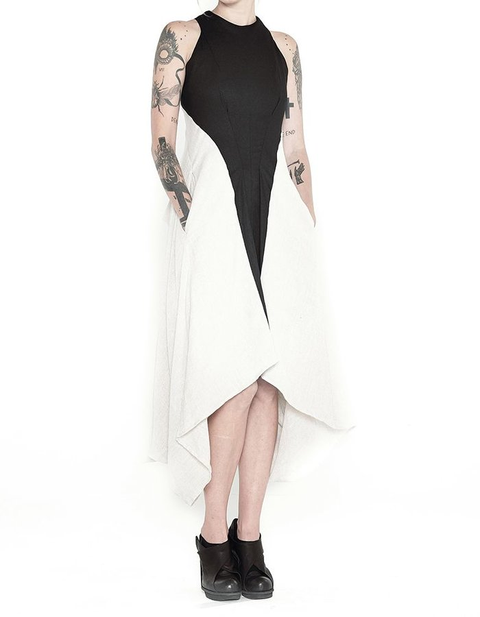 139DEC LINEN OPTIC DRESS  IVORY SIDES