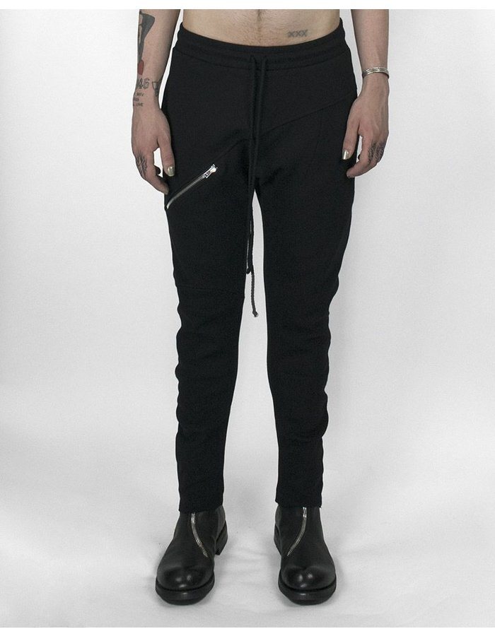 LOST AND FOUND ROOMS COTTON ZIP PANT BLACK