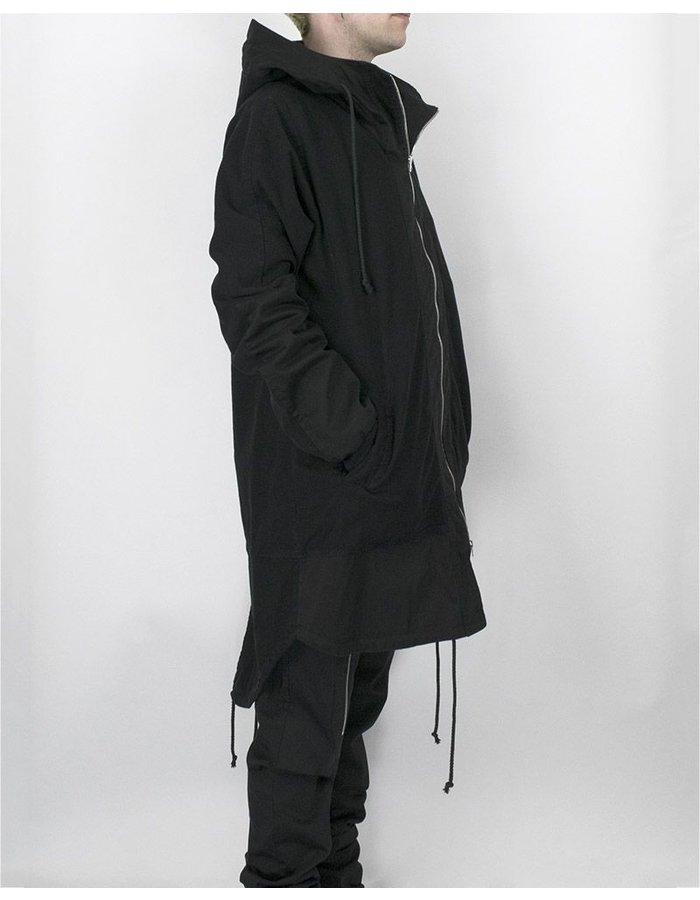 LOST AND FOUND ROOMS OVERSIZED HOODED PARKA BLACK