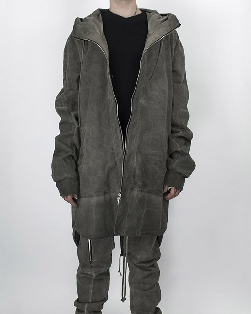 OVERSIZED HOODED PARKA COLD GREY