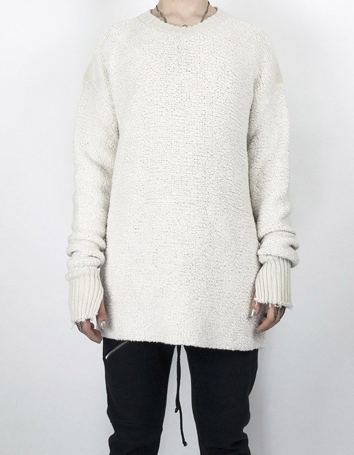 LOST AND FOUND ROOMS WOOL AND CASHMERE YARN SWEATER ECRU