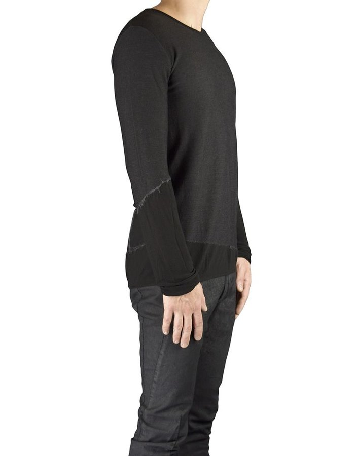 ANDREA YA'AQOV STRETCH KNIT WOOL VISCOSE CREW