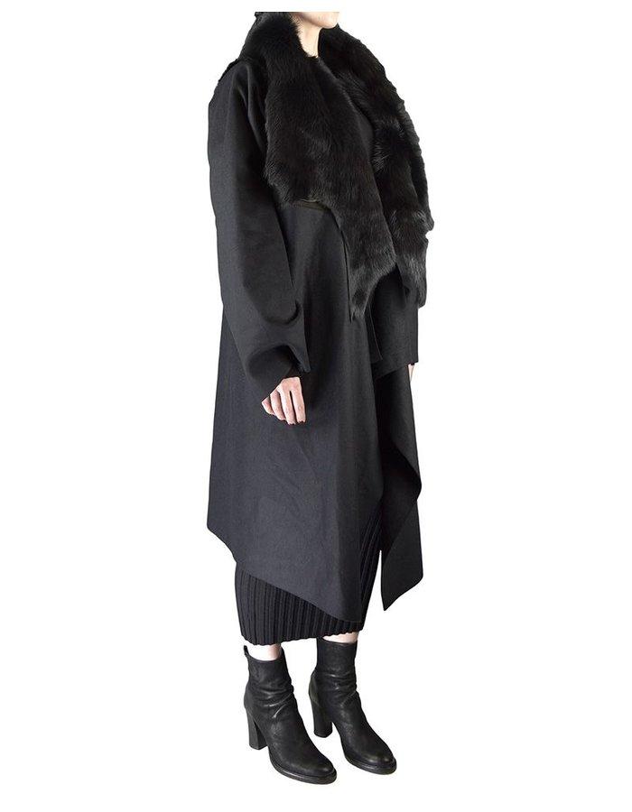 ANDREA YA'AQOV LONG COAT WITH SHEARLING COLLAR