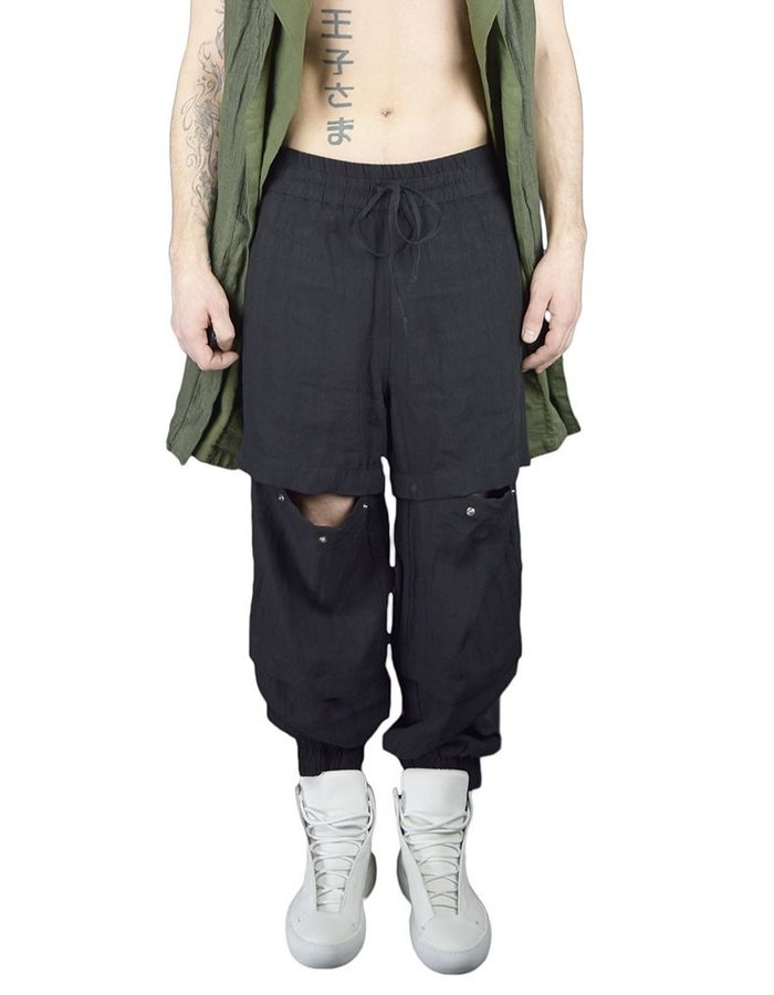 ANDREA YA'AQOV 3 WAY ZIP OFF TRANSFORMER PANT: BLK