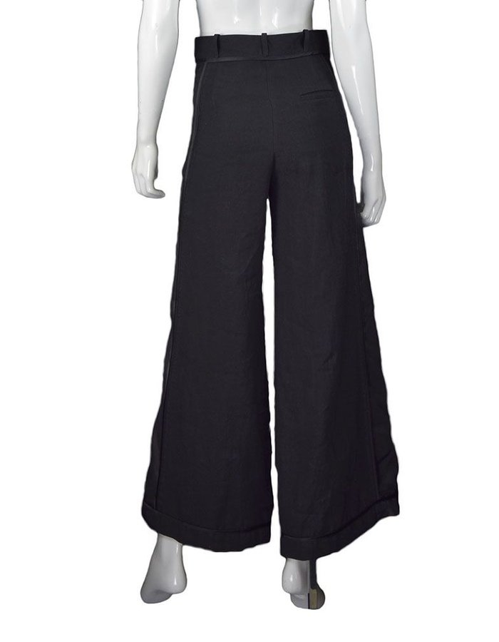 ANDREA YA'AQOV SILK LINEN WIDE LEG PT WITH SHEER SIDES