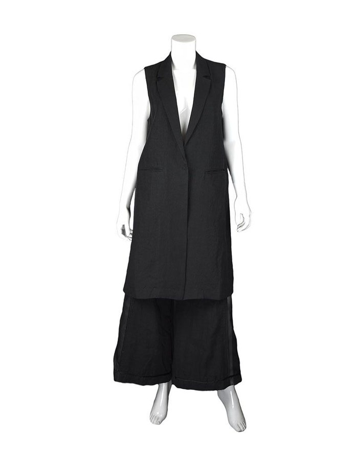 ANDREA YA'AQOV LINEN SILK SHEER BACK LONG VEST