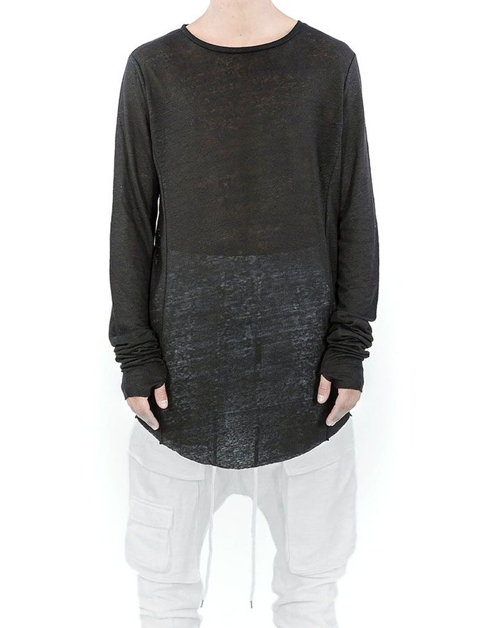 ARMY OF ME LONG SLEEVE LINEN T-SHIRT BLACK