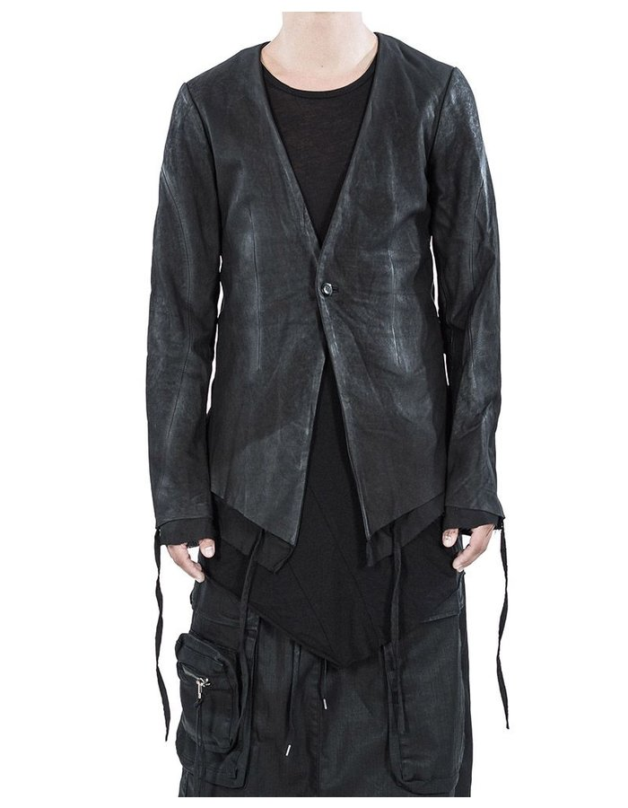 ARMY OF ME LAYERED LEATHER BLAZER