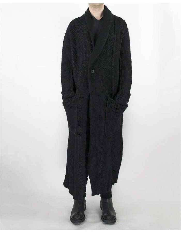 ISABEL BENENATO KNIT WOOL COAT BLACK