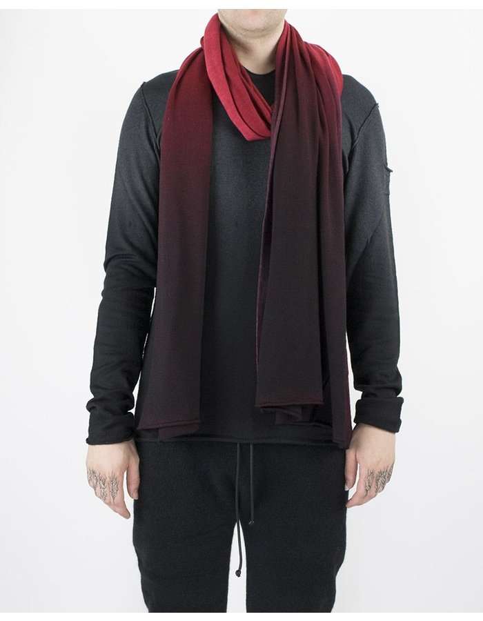 ISABEL BENENATO KNIT WOOL SCARF BLACK/RED