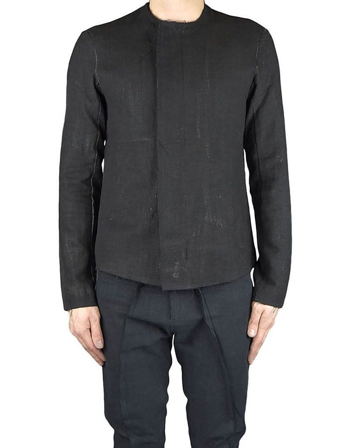 ATELIER AURA BLACK HAND PAINTED LINEN JACKET