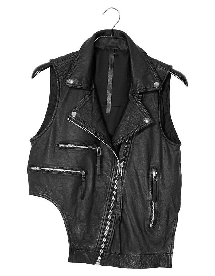 BARBARA I GONGINI CROPPED LEATHER BIKER VEST