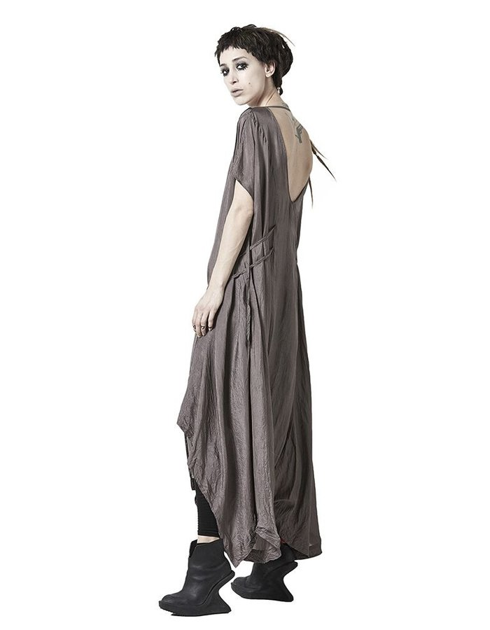 BARBARA I GONGINI LONG SILK DRESS  :MUD