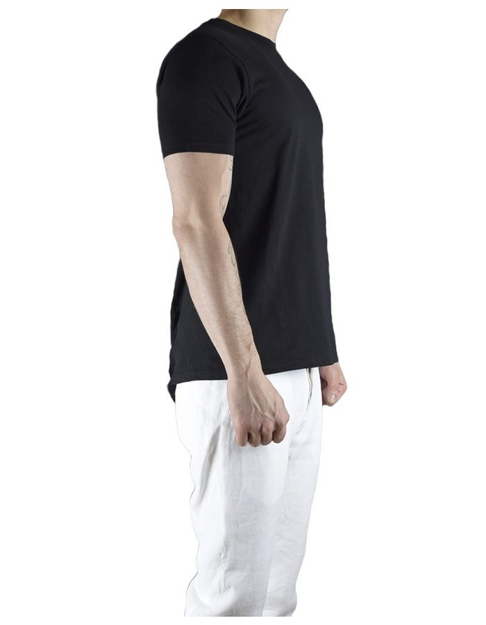 CHRIS P CREW NECK SHORT SLV WITH PARTIAL RIP BACK :BLK
