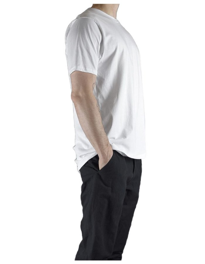 CHRIS P CREW NECK SHORT SLV WITH PARTIAL RIP BACK :WHT