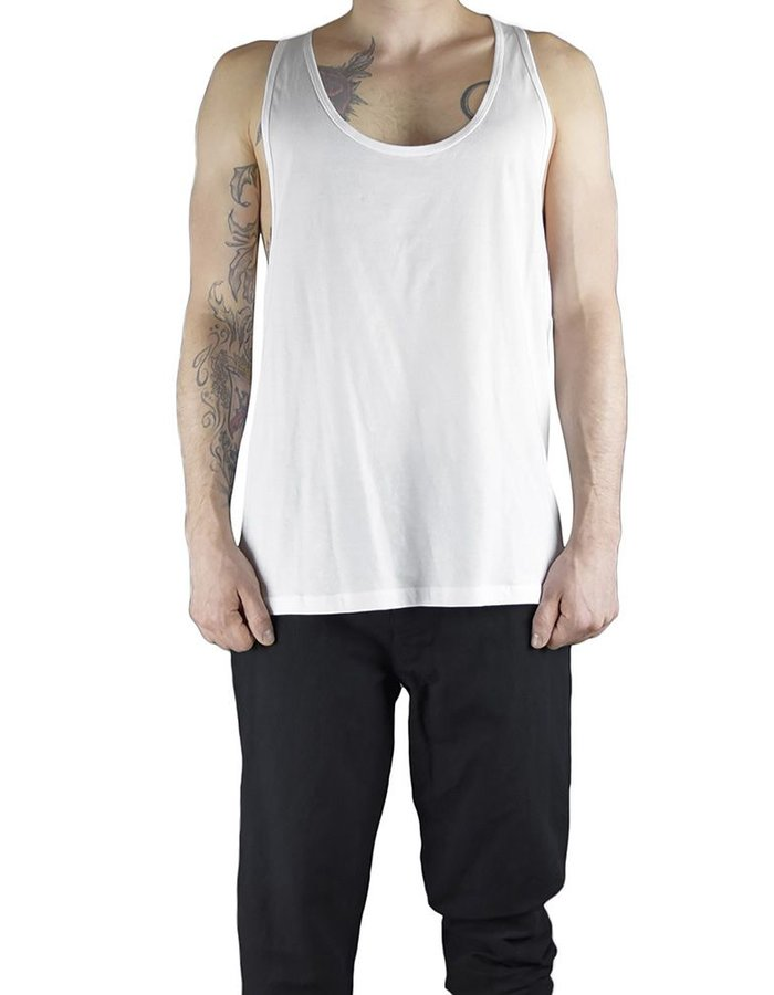 CHRIS P ATHLETIC TANK WIH PARTIAL RIPPING :WHT