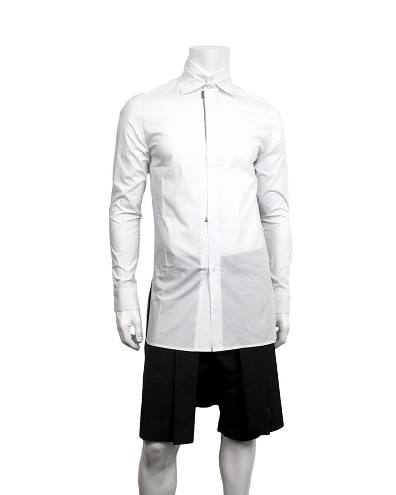ZIP FRONT SHIRT WHITE