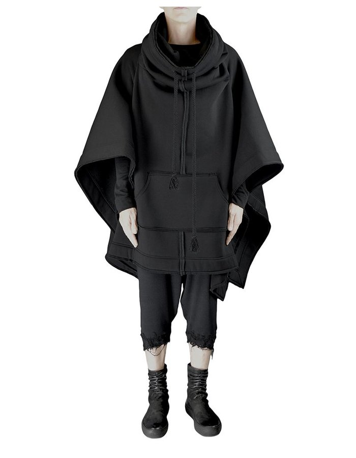 DAVID'S ROAD LONG HOODED PONCHO WITH SEAM DETAIL BLK