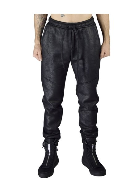 DAVID'S ROAD MENS SWEAT LEGGING COATED LEATHER EFFECT