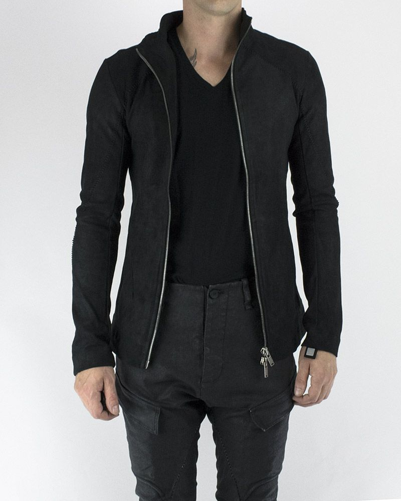 AGED STRETCH LEATHER ZIP FRONT JACKET