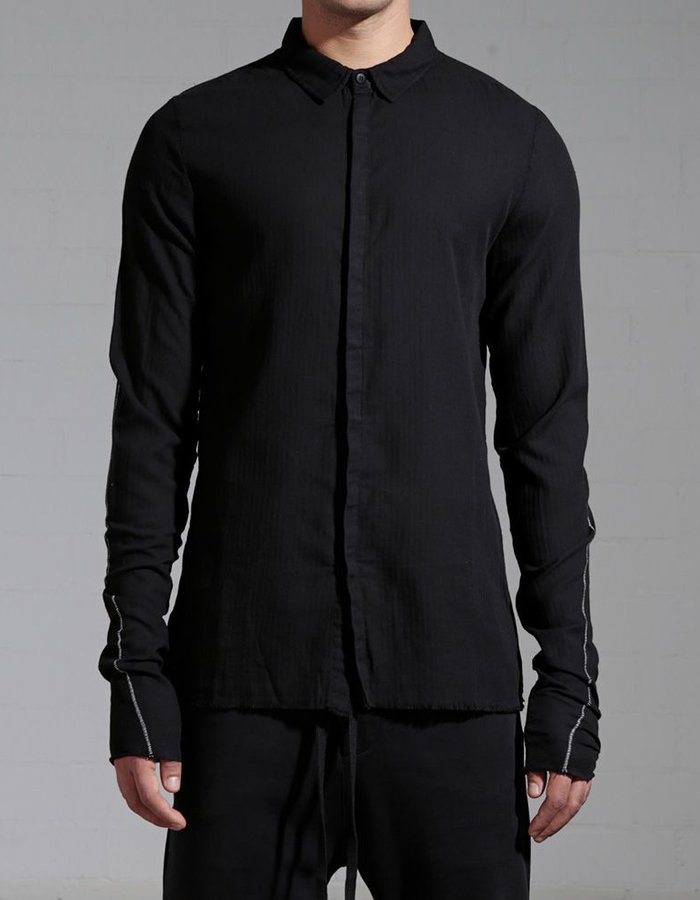 THOM KROM BUTTON DOWN COLLAR SHIRT WITH STITCH :KNIT SLV