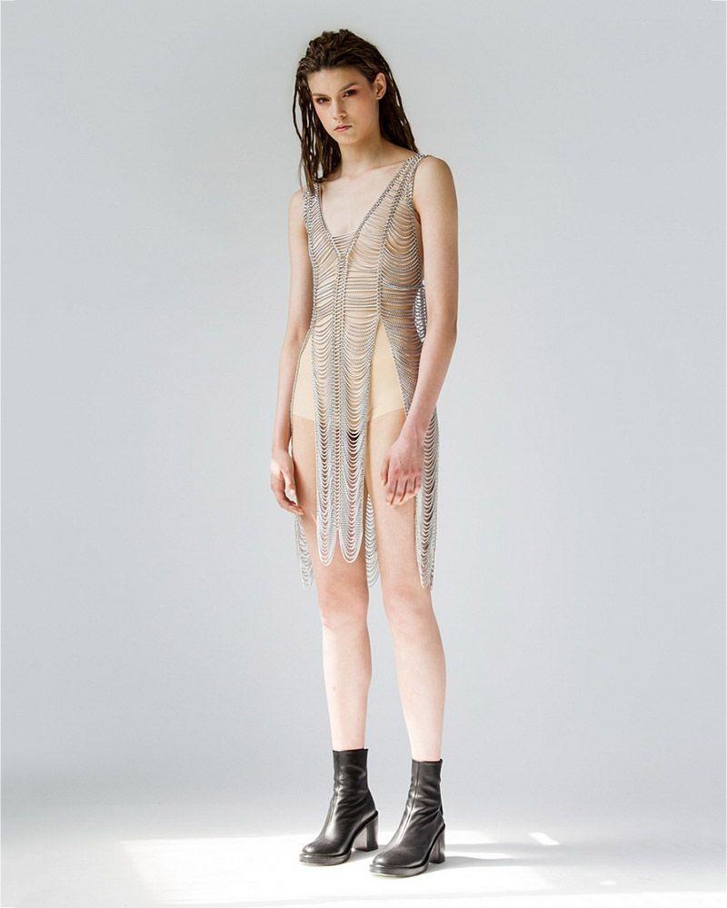 METAL DRESS WITH SLITS
