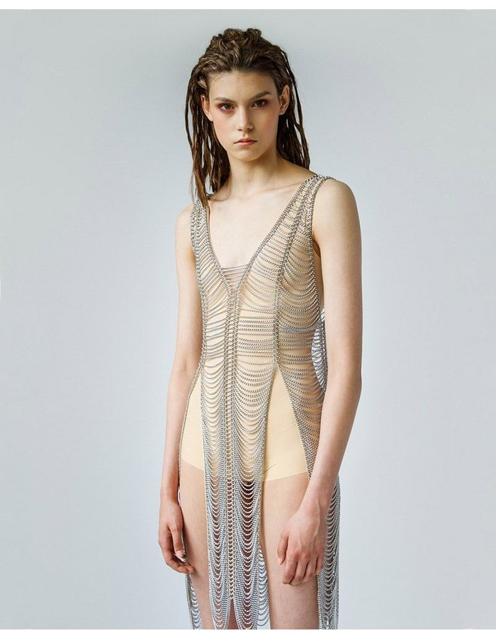 OMUT METAL DRESS WITH SLITS