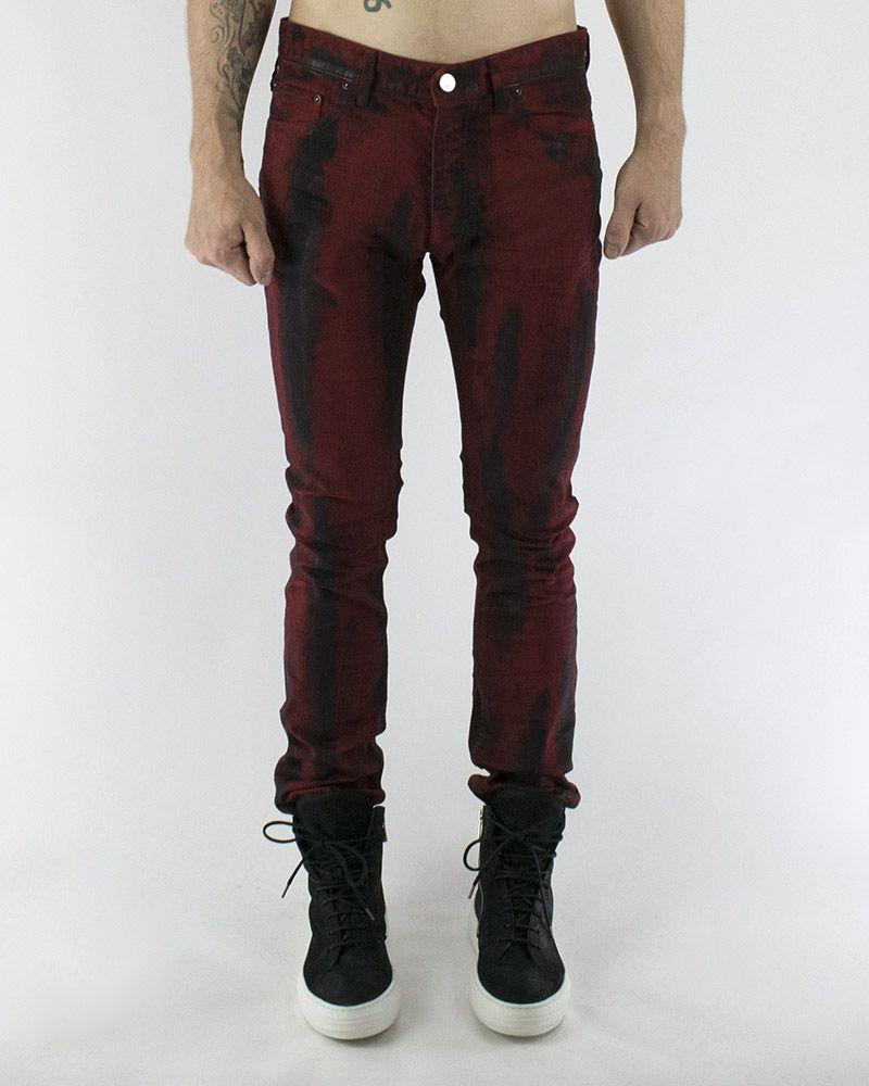 BRUSHED RED BLACK JEAN