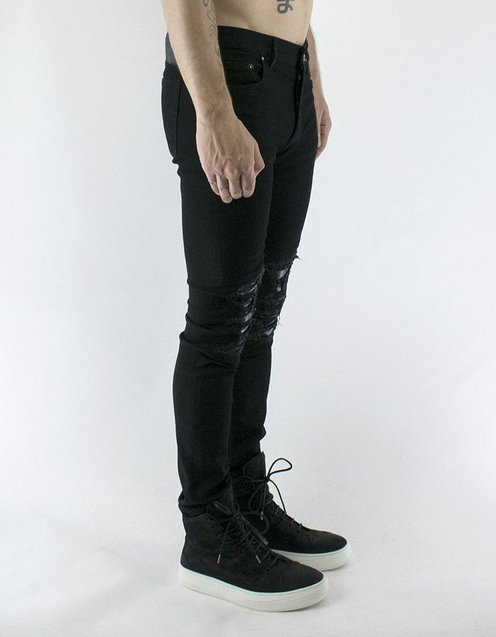 FAGASSENT OST JEANS WITH LEATHER INSERT