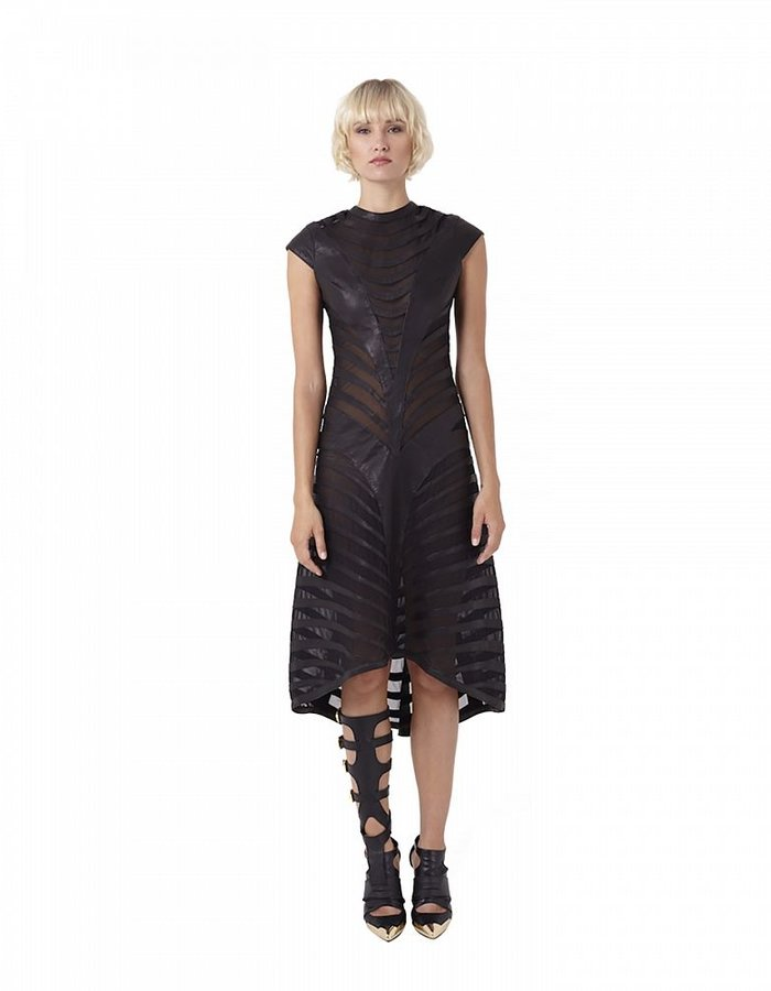 GELAREH DESIGNS ONYX BANDED LEATHER DRESS