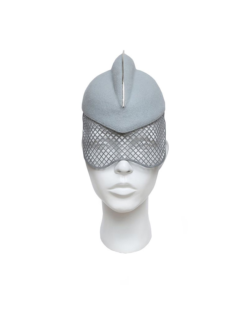 1 FIN HAT WITH METAL :SILVER BLUE