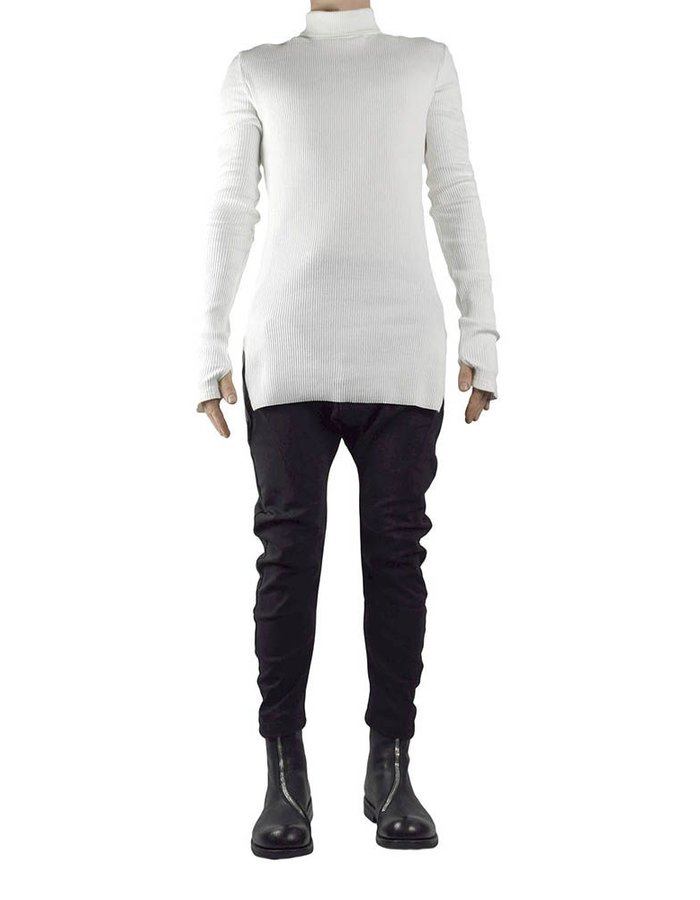 JOE CHIA ASYMMETRIC RIBBED TURTLENECK - WHITE