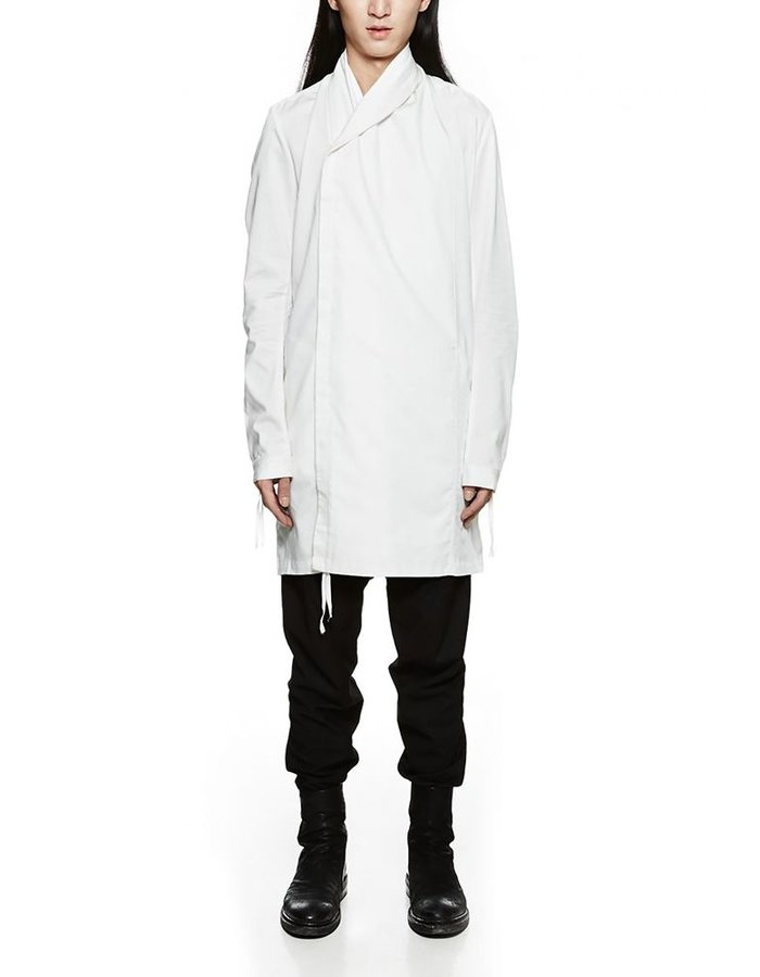 JOE CHIA ASYMMETRIC WRAP COLLAR SHIRT WHITE