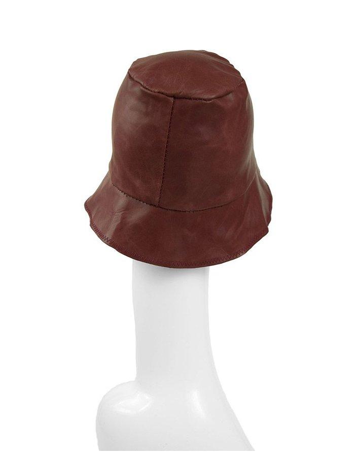 KLOSHAR HATS MILES LEATHER HAT : RED