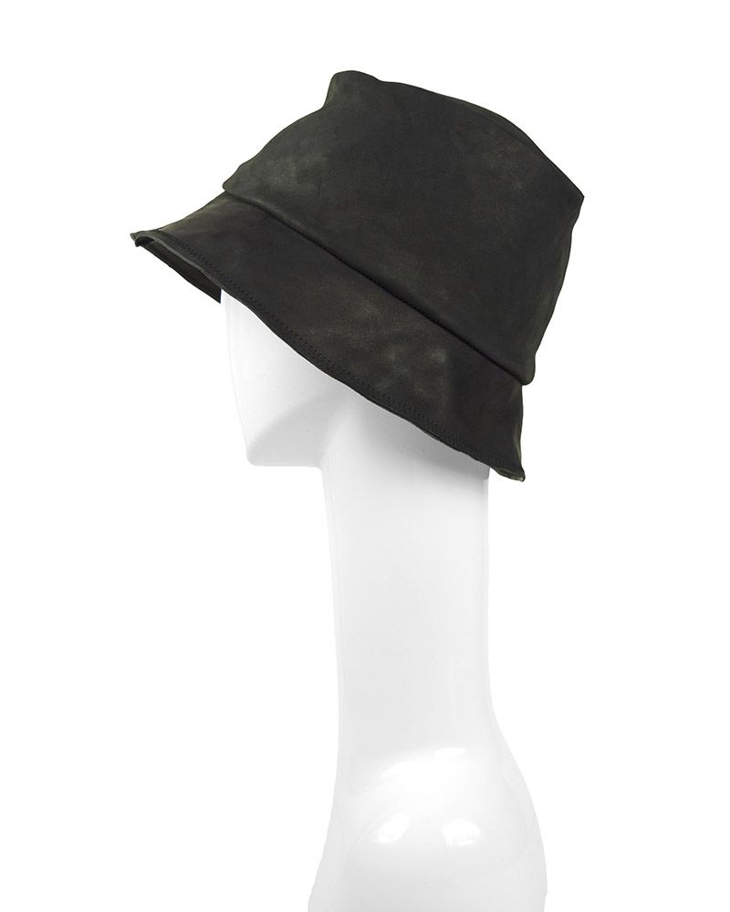 MILES LEATHER HAT: BLACK