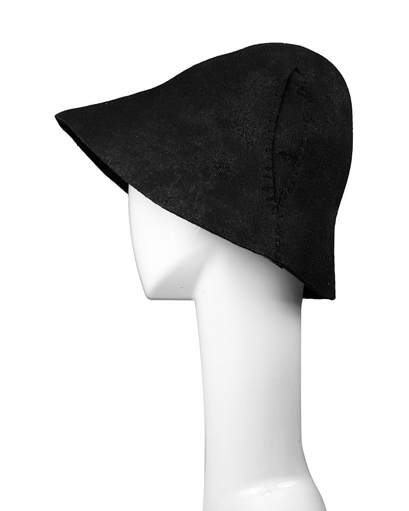 PULL-ON RESIN COATED HAT WITH IRREGULAR STITCHING