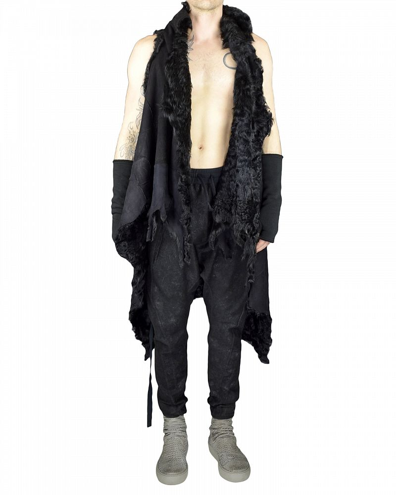 WILD LONG SHEARLING CAPE