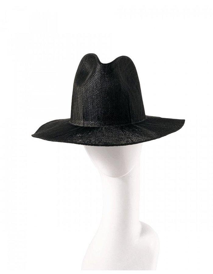 REINHARD PLANK LAILA OPEN SISAL STRAW HAT BLACK