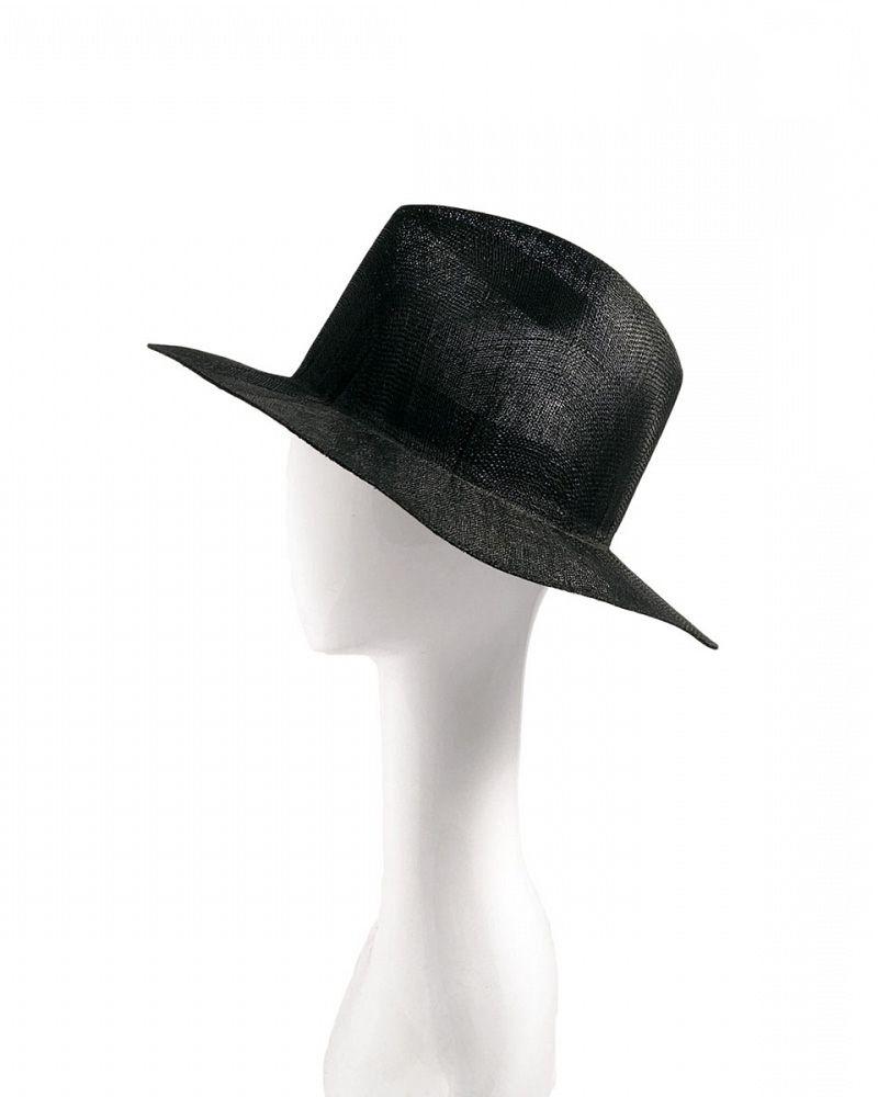 LAILA OPEN SISAL STRAW HAT BLACK