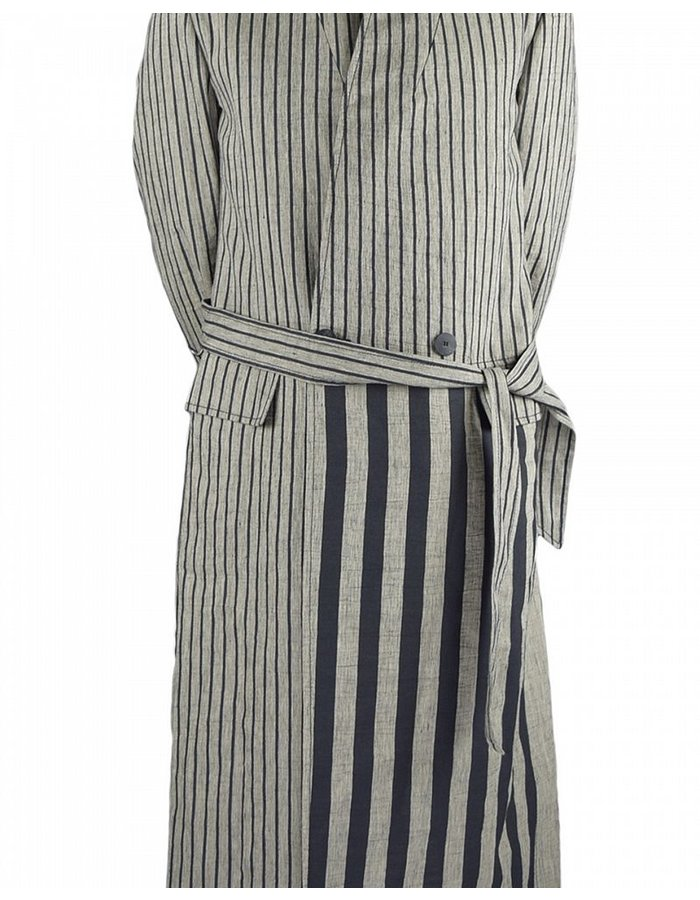 TOM REBL DOUBLE BUTTON TRENCH COAT WITH STRIPE PATTERN