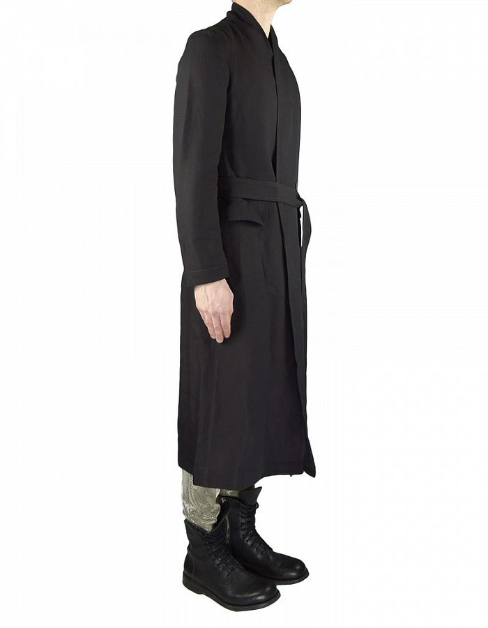 TOM REBL DOUBLE BUTTON TRENCH COAT BLACK