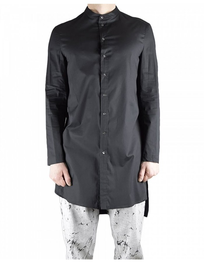 TOM REBL BELTED STRETCH COTTON SHIRT :BLK