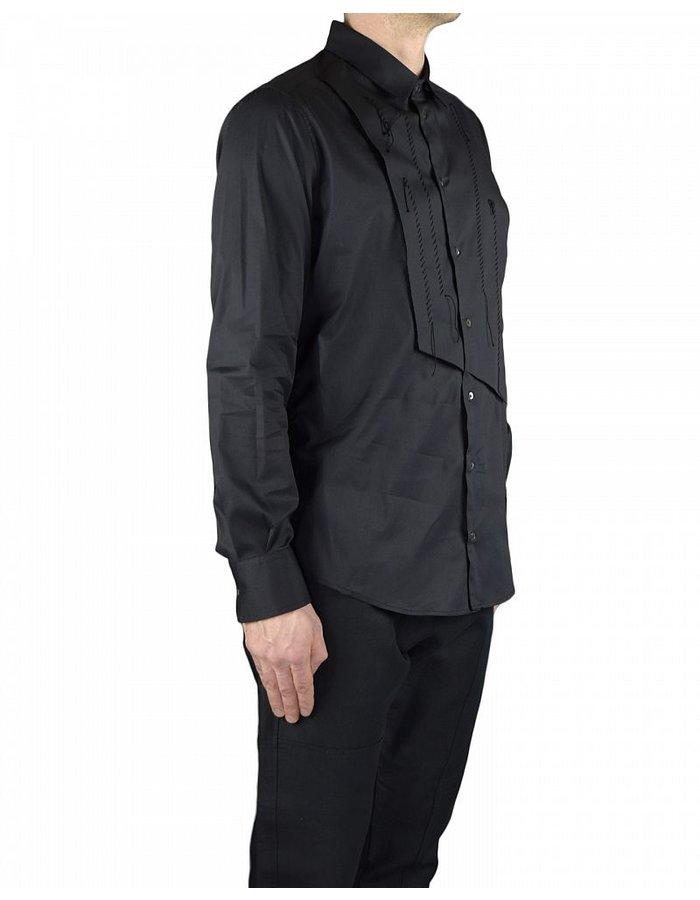 TOM REBL DRESS SHIRT WITH FRONT PANEL DETAIL BLACK