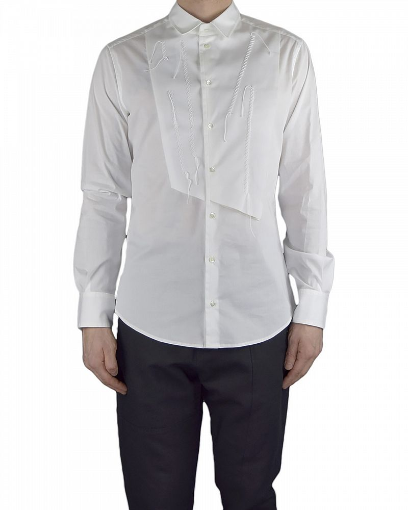 DRESS SHIRT WITH FRONT PANEL DETAIL WHITE
