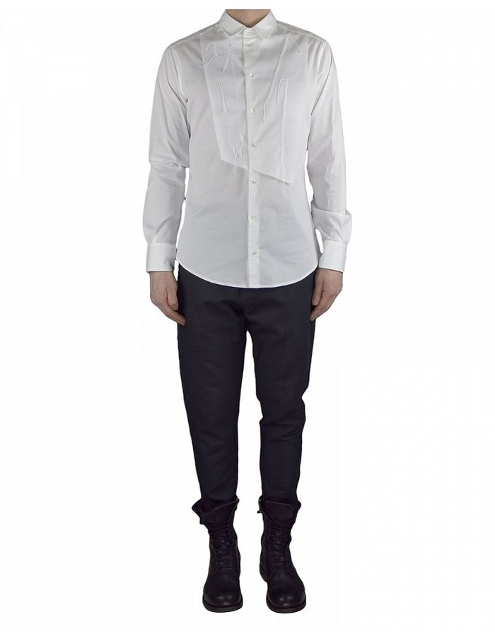 TOM REBL DRESS SHIRT WITH FRONT PANEL DETAIL WHITE